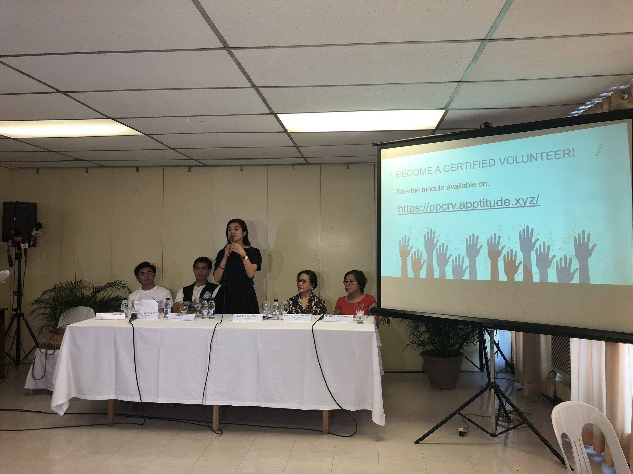 INTRODUCTION. PPCRV National Chairperson Myla Villanueva talks during their youth ambassador launch on March 20 at the Pope Pius XII Catholic Center. Photo by Samantha Bagayas/Rappler