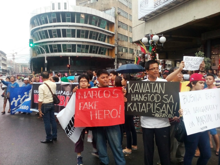 MARCOS NO HERO. Cebuanos troop to Metro Colon, Cebu to protest against the unforeseen burial of Ferdinand Marcos at the Libingan ng mga Bayani. Photo by Apple Danuco/Rappler