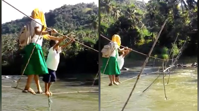 RISKY. Students need to cross this rope bridge daily to get to school. Screengrab of video by Yasmin Mangorsi