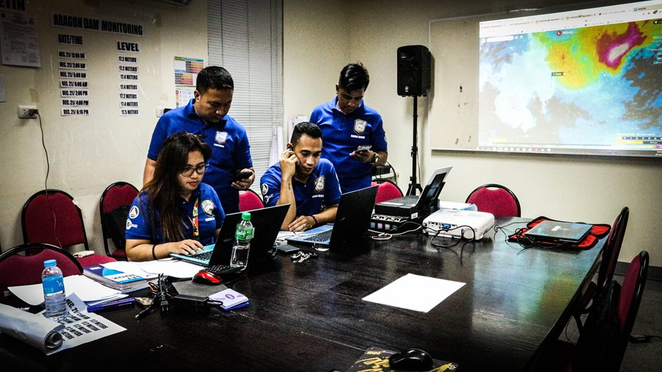 INCIDENT MANAGEMENT. Members of the Davao Oriental Incident Command Post monitor the effects of Severe Tropical Storm Vinta as it hits the province. Photo courtesy of Davao Oriental Province Facebook account