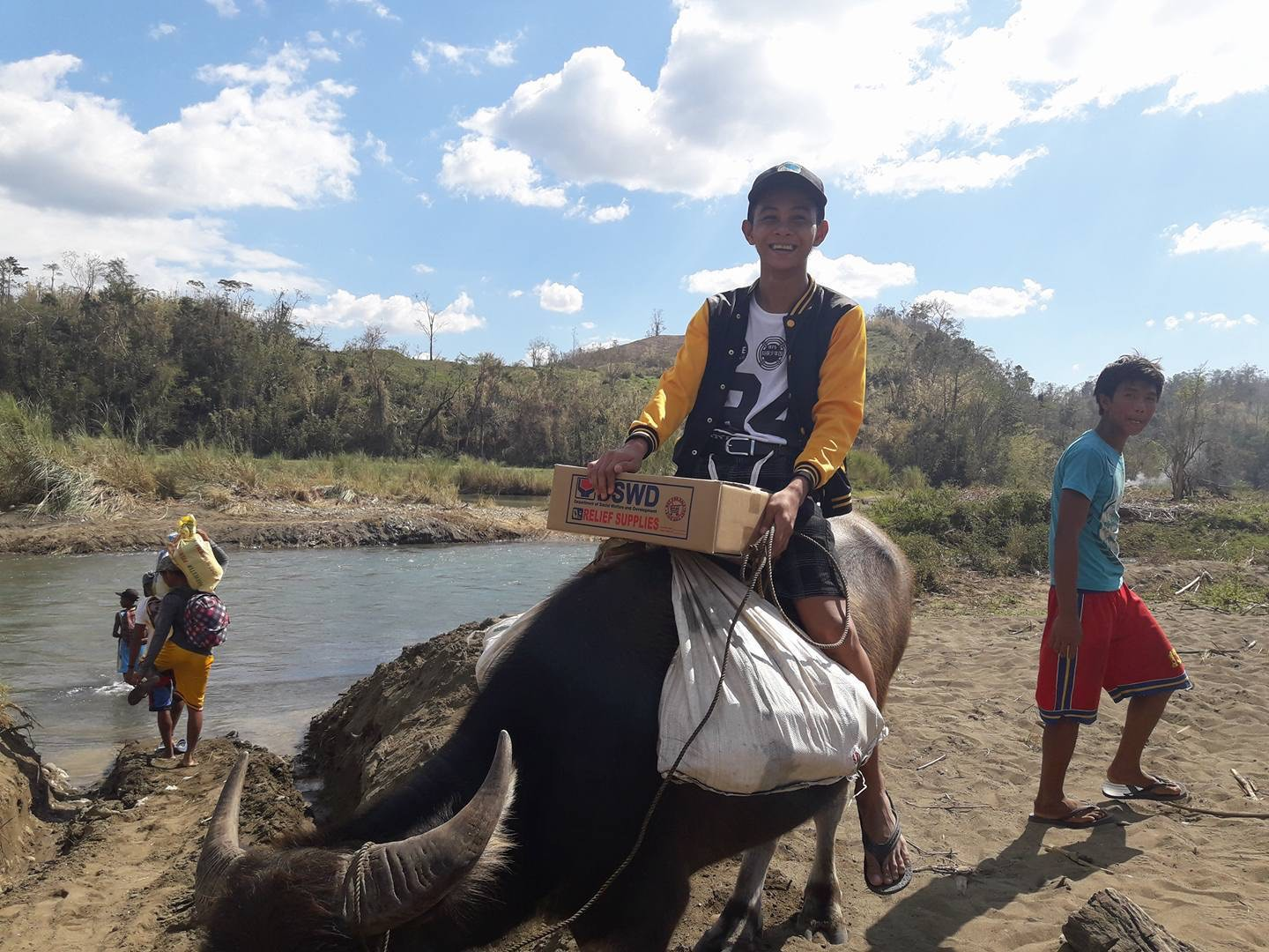 REACHING RIZAL. A carabao is used to transport relief goods to the remote town of Rizal in Kalinga province.