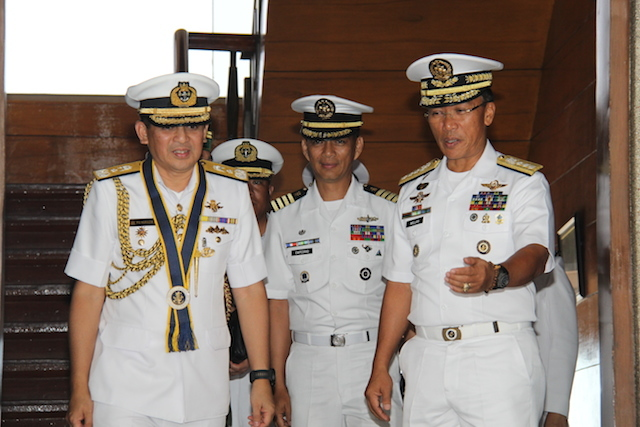 COURTESY CALL: Commander of Royal Brunei Navy, First Admiral Pengiran Norazmi Bin Pengiran Haji Muhammad, pays courtesy call on Philippine Navy Vice Admiral Jesus Millan. PH Navy photo
