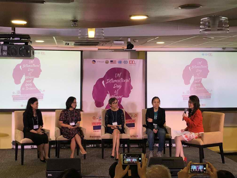 GAME CHANGERS. Four Filipina leaders in the fields of science, technology, math, and engineering talk about their journeys and challenges in a forum by the International Labor Organization on February 22, 2019. Photo by Samantha Bagayas/Rappler
