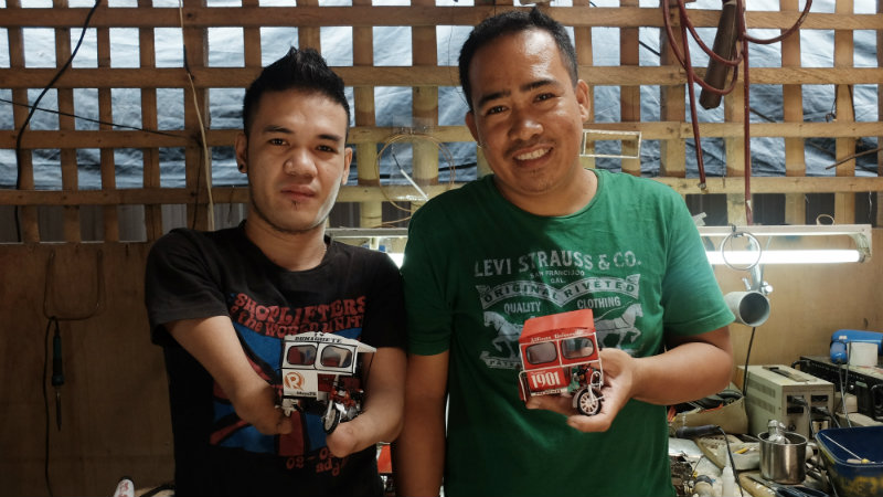 EMPLOYED. Andy Villaruel poses with his employer, Julius Lusaya, with their finished products