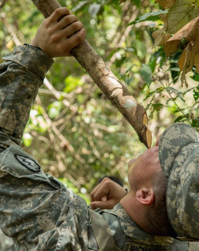 NATURAL WATER. A US soldier drinks from a cut branch. U.S. Army photo by Pfc. Samantha Van Winkle/Released