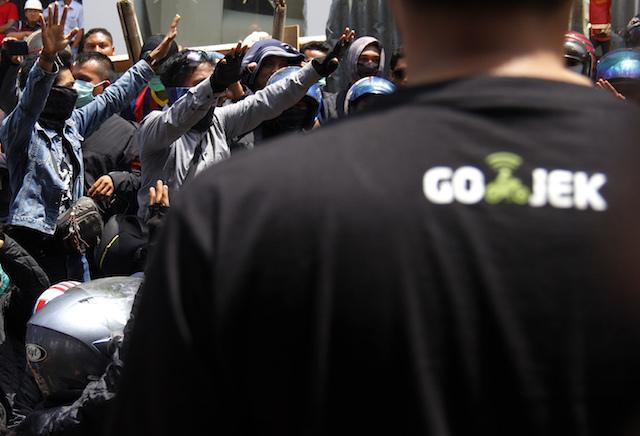 GO-JEK. Para pengemudi Go-Jek. Foto: Antara.