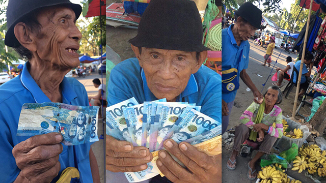 FAITH IN HUMANITY RESTORED. Fruit vendor Solomon Alfanta receives cash donations from netizens soon after he gets paid with a fake thousand-peso bill. Photos by Angelie Mabanta