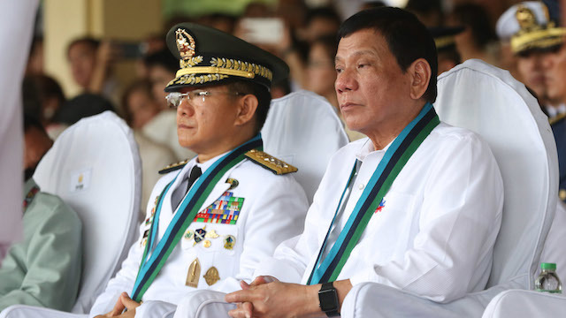INDEPENDENT MILITARY? President Rodrigo Duterte vows he will never tinker with promotions in the military. Malacañang photo