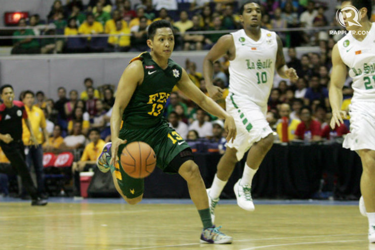 Mike Tolomia runs the floor during FEU's opening game against La Salle