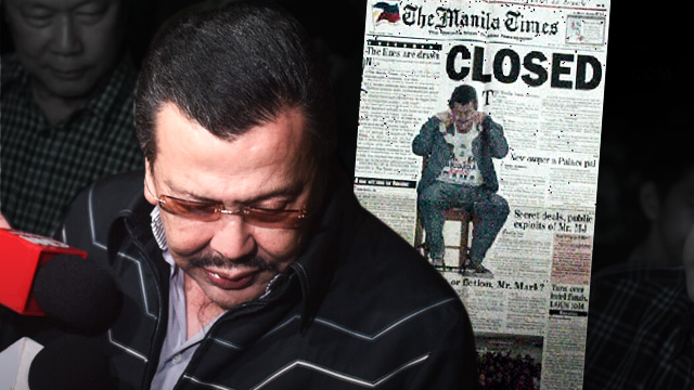 PRESSURE? The Manila Times changed ownership and even closed for a while following a libel suit filed by then president Joseph Estrada. Photo of Manila Times frontpage from www.rocesfamily.com