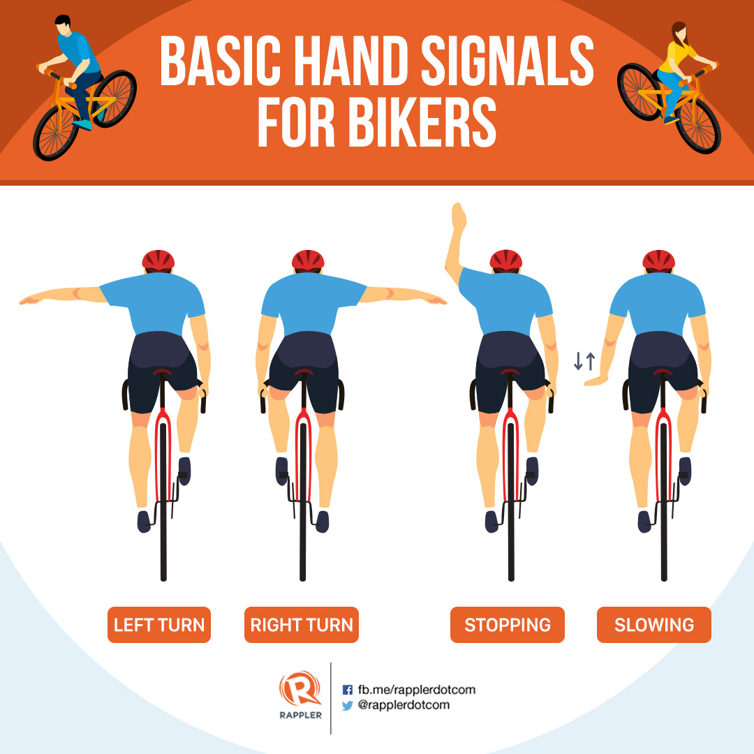 HAND SIGNALS. These are some of the basic and most common ways cyclists communicate on the road.