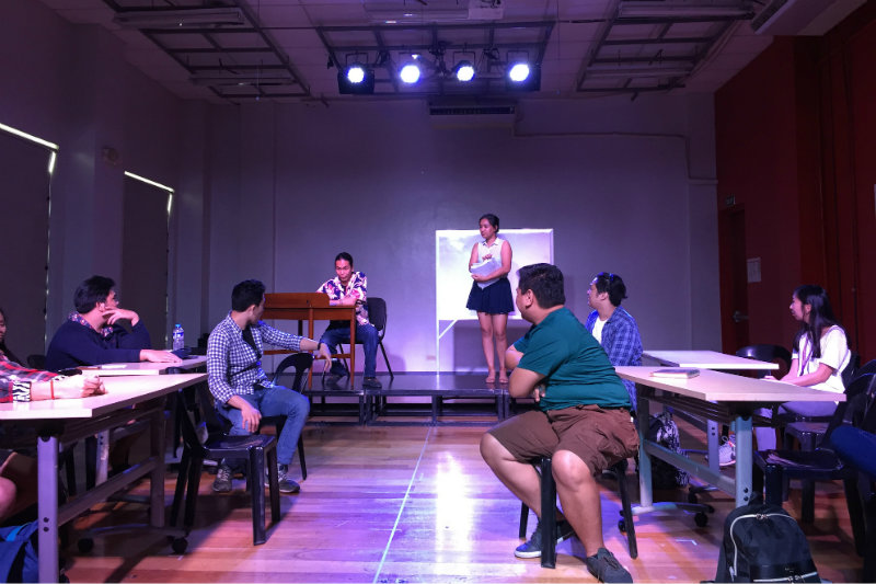 EXPERIENTIAL MUSEUM. Theater actors from Mapua show how men in positions of power can take advantage of other women. Photo by Raisa Serafica