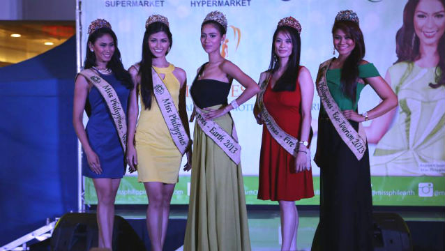 REIGNING QUEENS.(FROM L-R)Miss Philippines-Earth Water Alma Cabasal Miss Philippines-Earth Air Nancy Leonard, Miss Philippines-Earth 2013 Angelee delos Reyes, Miss Philippines-Earth Fire Athina Chia, and Miss Philippines-Earth Eco Tourism Bernadette Aguirre. Photo from the Miss Philippines-Earth's Official Facebook page