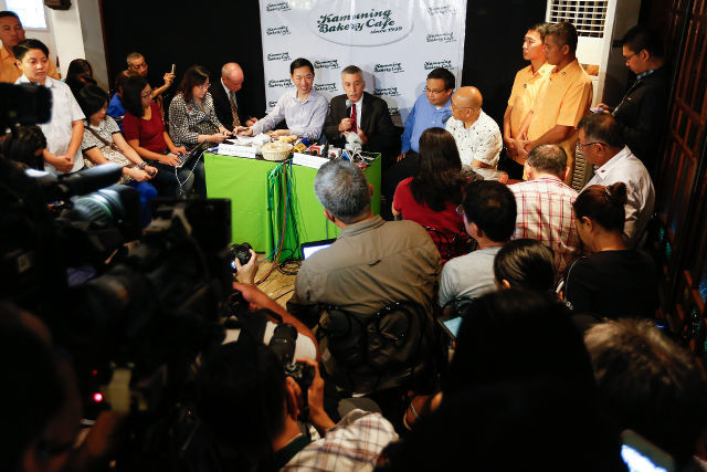 TALKING ABOUT EDCA. US Ambassador to the Philippines Philip Goldberg (top-C) answers questions from the media during a forum in Quezon City, northeast of Manila, Philippines, February 3, 2016. File Photo by Mark R. Cristino/EPA