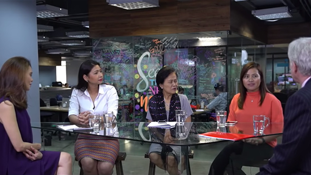 WOMEN AND THE ELECTIONS. (From left) Nathalie Verceles sits down with Quezon City Councilor Mayen Juico, Angat Bayi mentor Dr. Carol Sobritchea, Ilocos Sur Councilor Joanne Valdez, and Canadian Ambassador John Holmes for a roundtable on women and the elections. Screenshot from Rappler Talk