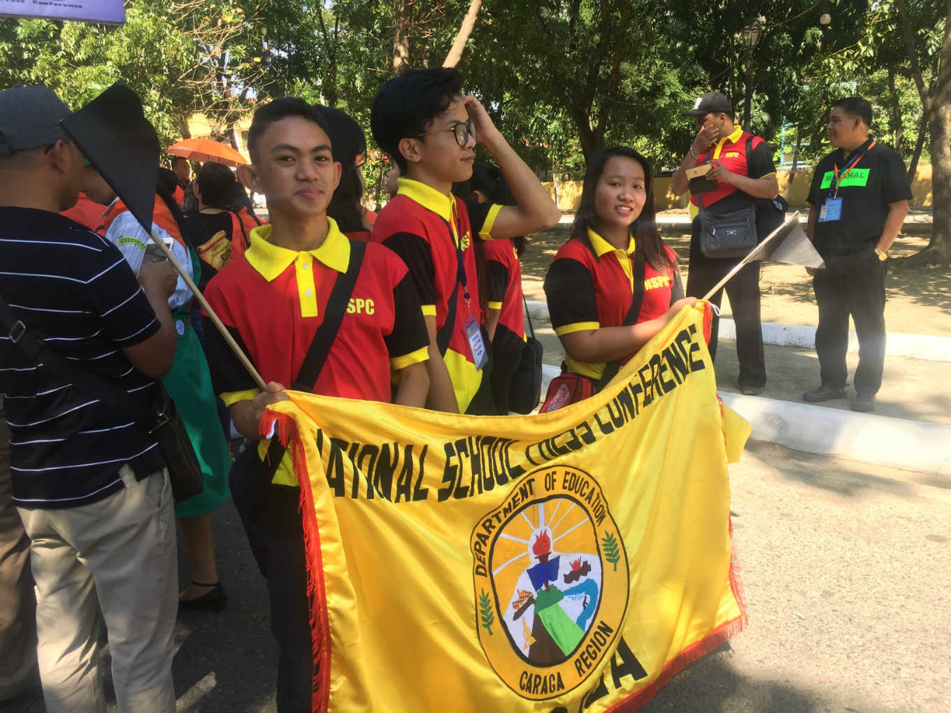 GOING FOR GOLD. Caraga Region delegates wait for their turn in entering Narciso Ramos Sports Complex in Lingayen, Pangasinan for the opening ceremonies. Photo from Jourknows