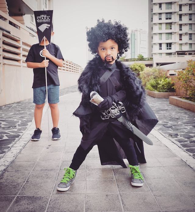 JON SNOW. For someone with ASD, Anton's not very sensitive to fabric textures, so he's really 'game' with wearing different Halloween costumes. Photo by Nonie Tobias-Azores