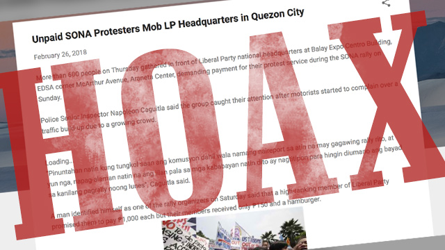 A screenshot of a blog post that says that 'unpaid SONA protesters' gathered outside the Liberal Party's headquarters in Quezon City to demand payment for participating at the anti-Duterte rally during President Rodrigo Duterte's 2018 State of the Nation Address.