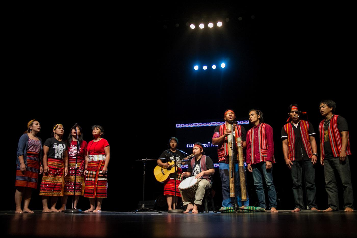 DIVERSE. Members of the Dap-ayan ti Kultura iti Kordilyera (DKK) sing Salidummay songs during the Hugpungan 2017 in UP theater on September 18, 2017. Photo by Mark Saludes