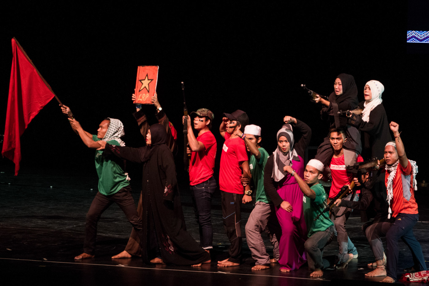 UNITY. Moros perform a theater production on the plight of the Bangsamoro for self-determination in the southern Philippines. Photo by Mark Saludes