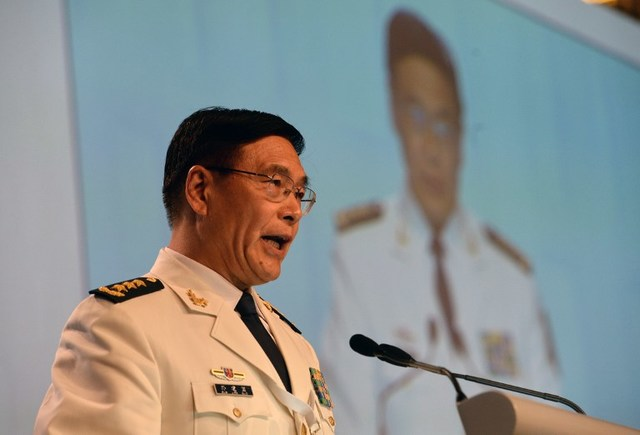 MARITIME ROW. China's Admiral Sun Jianguo, deputy chief of general staff of the Chinese People's Liberation Army (PLA), delivers his speech during a plenary session at the 15th Shangri-La Dialogue in Singapore on June 5, 2016. Photo by Roslan Rahman/AFP