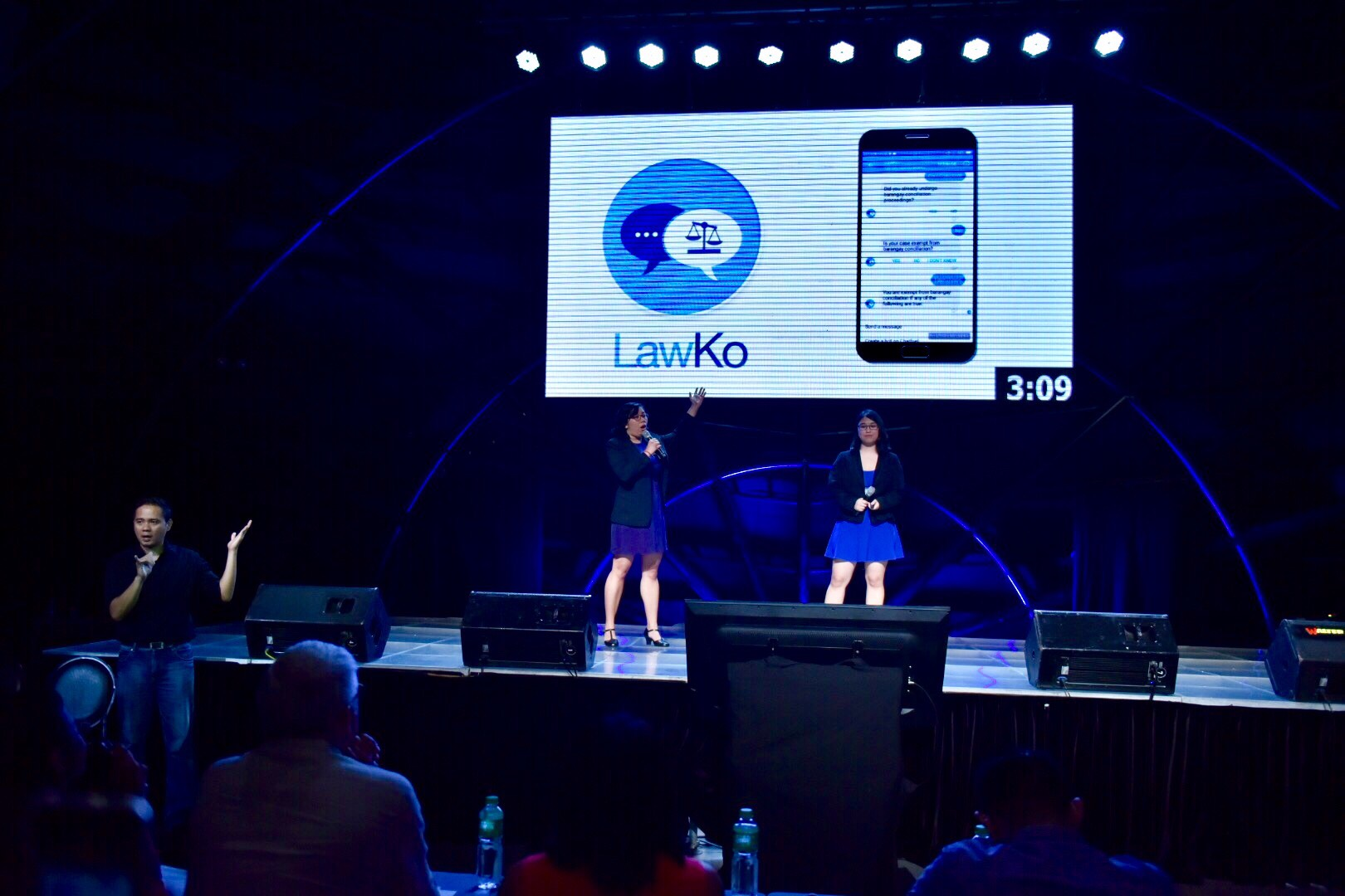 WINNER. Alex Austria and Keisha Mayuga talk about their project, LawKo, during Rappler's Social Good Summit on September 16, 2017.