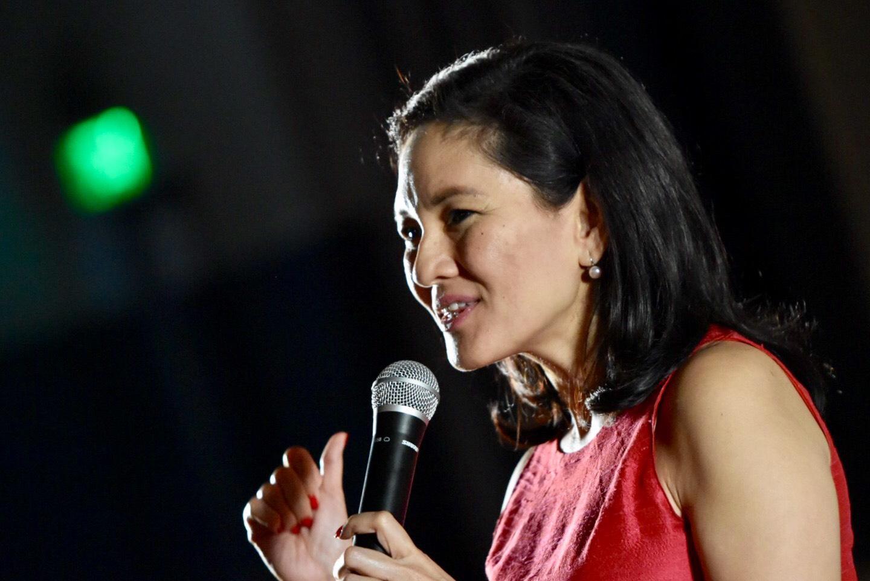 OPTIMISTIC. Senator Risa Hontiveros calls on  Filipino citizens to continue the fight against climate change
