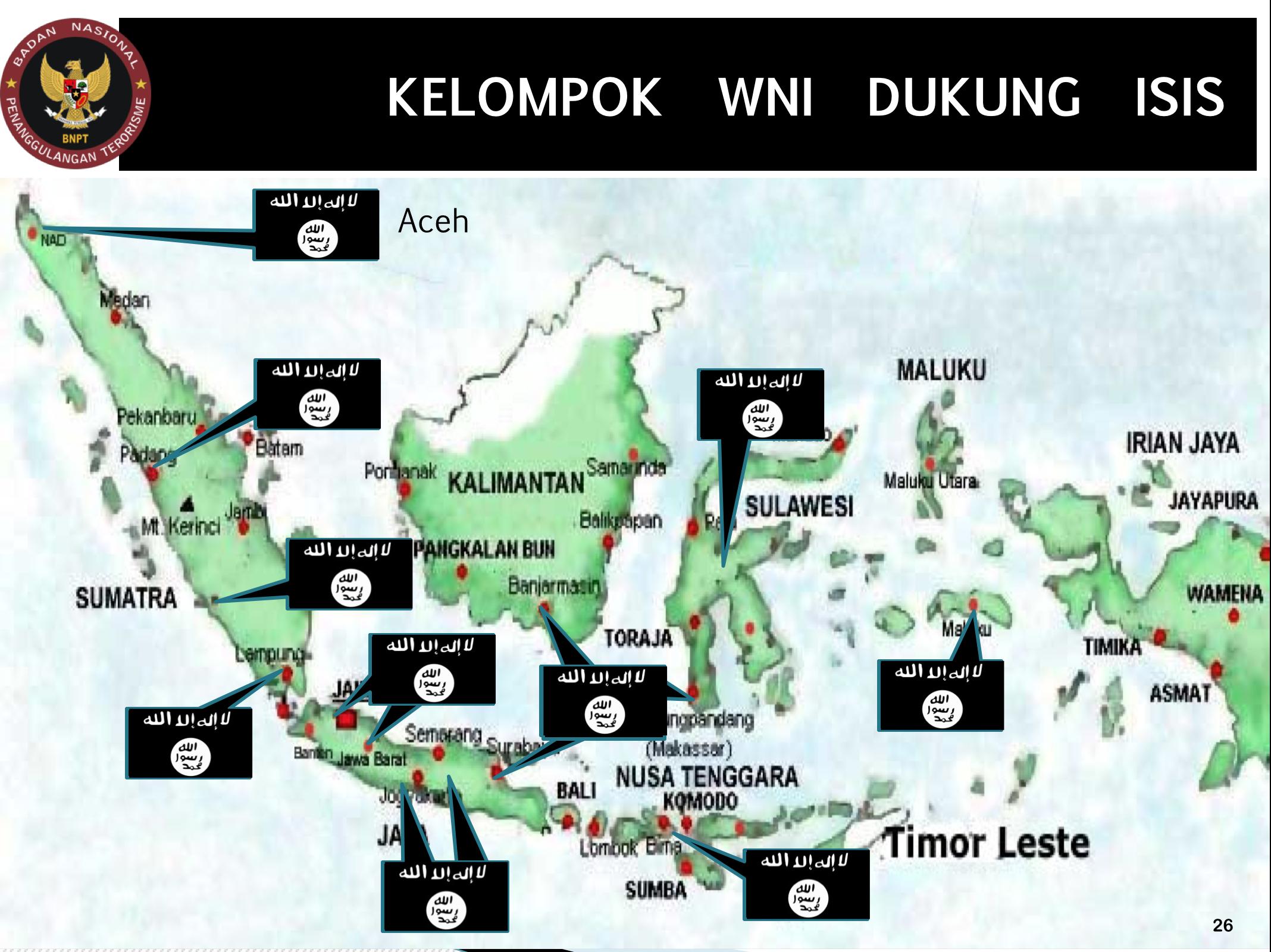 Sejumlah kelompok Indonesia yang menyatakan dukungan terhadap ISIS. Sumber BNPT