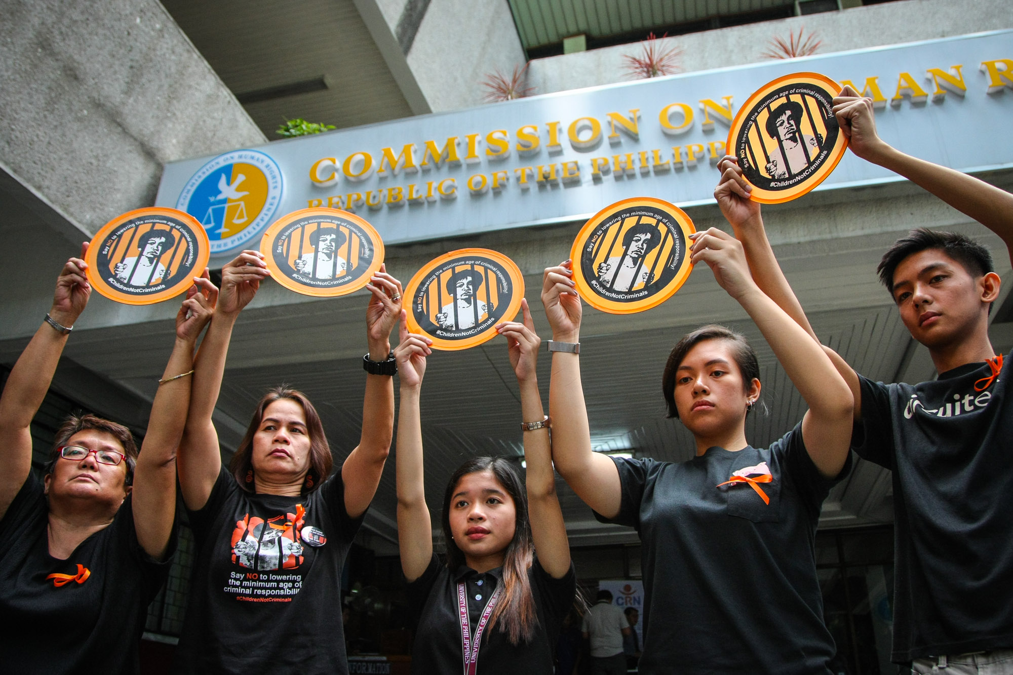 PROTEST. Child rights groups belonging to the Salinlahi Alliance for Children's Concerns oppose the lowering of the minimum criminal responsibility from 15 to 9 years old in a press conference at the CHR headquarters on January 22, 2019. Photo by Jire Carreon/Rappler