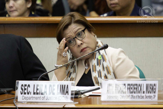 NO ANSWERS FROM MILF. A file photo of Justice Secretary Leila de Lima. File photo by Mark Cristino/Rappler