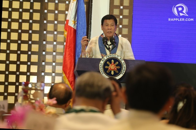 'SORRY, HOSTAGES.' President Rodrigo Duterte explains his policy against kidnappers. Photo by Manman Dejeto/Rappler