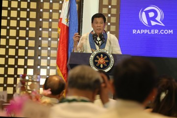 'SORRY, HOSTAGES.' President Rodrigo Duterte explains his policy against kidnappers. Photo by Manman Dejeto/Rappler