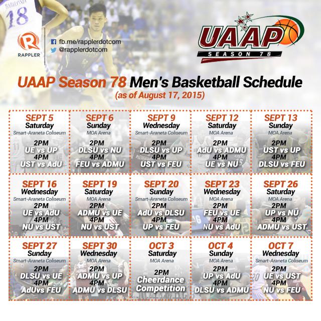 UAAP Season 78 first round schedule