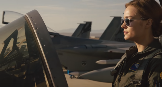 AIR FORCE PILOT. Brie Larson plays Carol Danvers, an air force pilot who finds herself getting super powers.