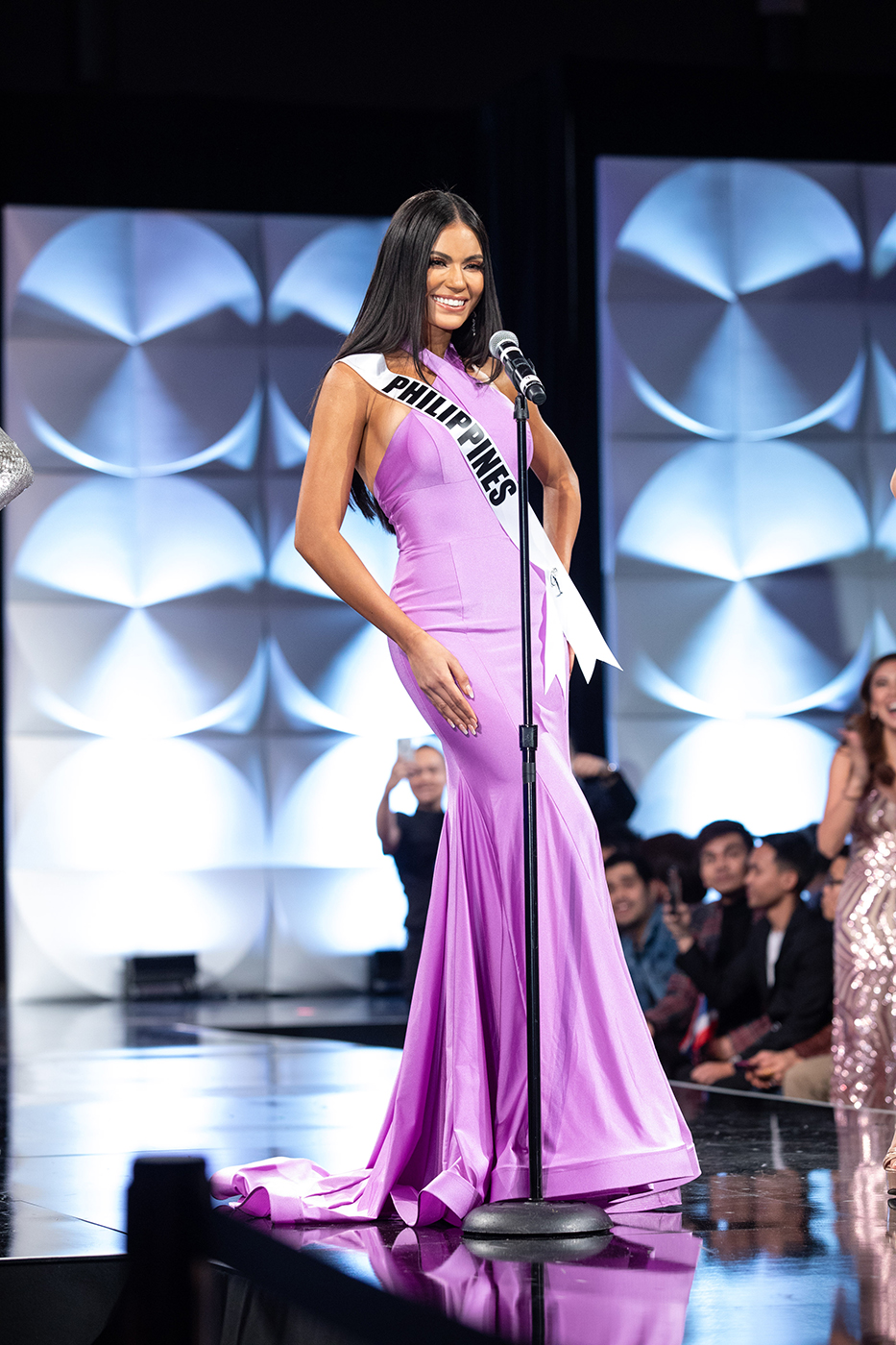 Gazini Ganados, Miss Philippines 2019 on stage in fashion by Sherri Hill during the opening of the MISS UNIVERSE Preliminary Competition at the Marriott Marquis in Atlanta on Friday, December 6, 2019. Photo from Miss Universe