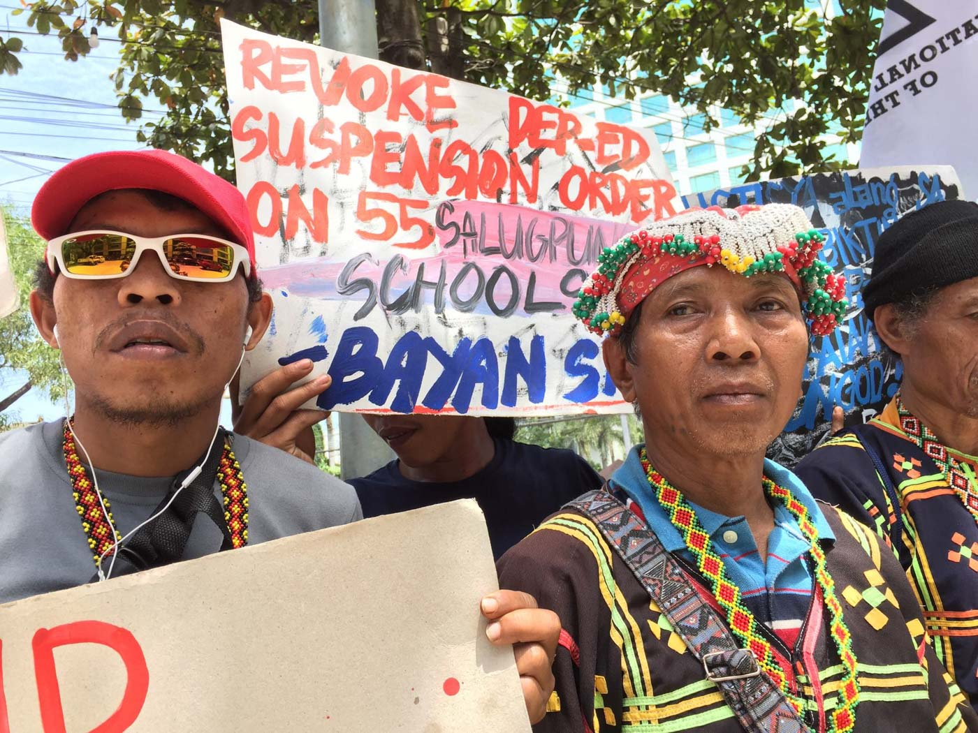 DENOUNCING DEP-ED. On Monday, July 22, Lumad leaders condemn the DepEd order to close 55 Lumad schools in Mindanao. Photo courtesy of Kilab Multimedia