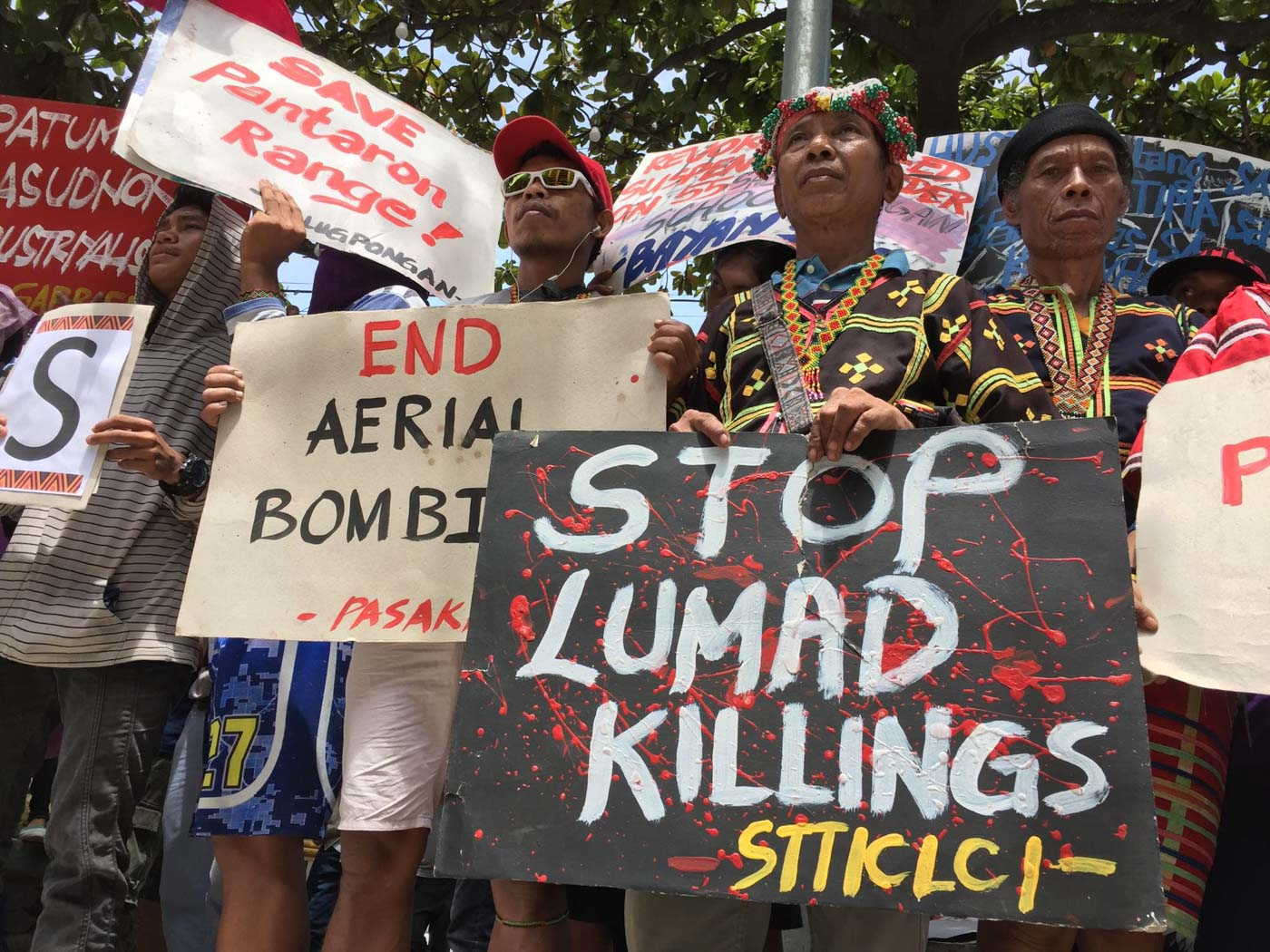 DAVAO CITY. Lumad leaders from Talaingod in Southern Mindanao join the United People's SONA at the Freedom Park in Davao City, calling for an end to martial law and a stop to the attacks on Lumad schools and communities on July 22. Photo courtesy of Kilab Multimedia