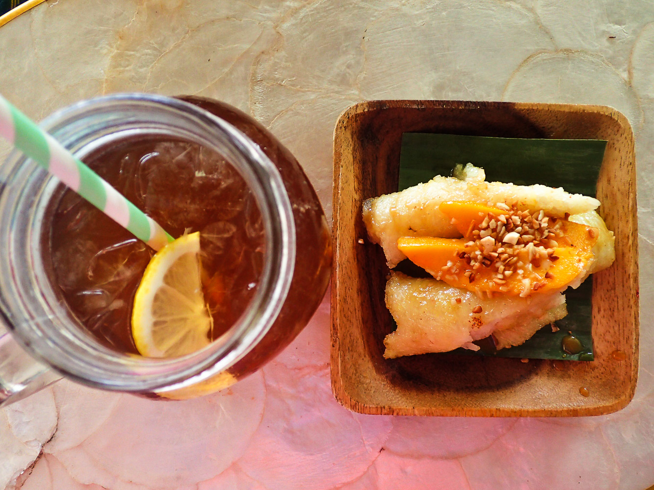 STAPLE SNACK. A snack of Antipolo suman and lemongrass iced tea is served to all Luljetta's guests.