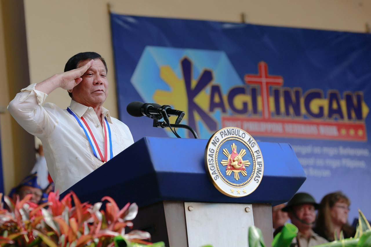 CHIEF EXECUTIVE. President Rodrigo Duterte attends the 75th commemoration of Araw ng Kagitingan on April 9, 2017, before flying to Saudi Arabia a day later. Photo by Rey Baniquet/Presidential Photo