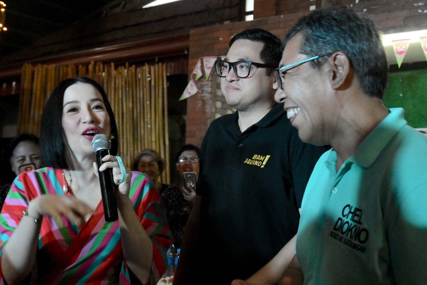 SUPPORT. Kris Aquino visits Laguna with cousin and reelectionist Senator Bam Aquino and opposition bet Chel Diokno. Photo by Angie de Silva/Rappler