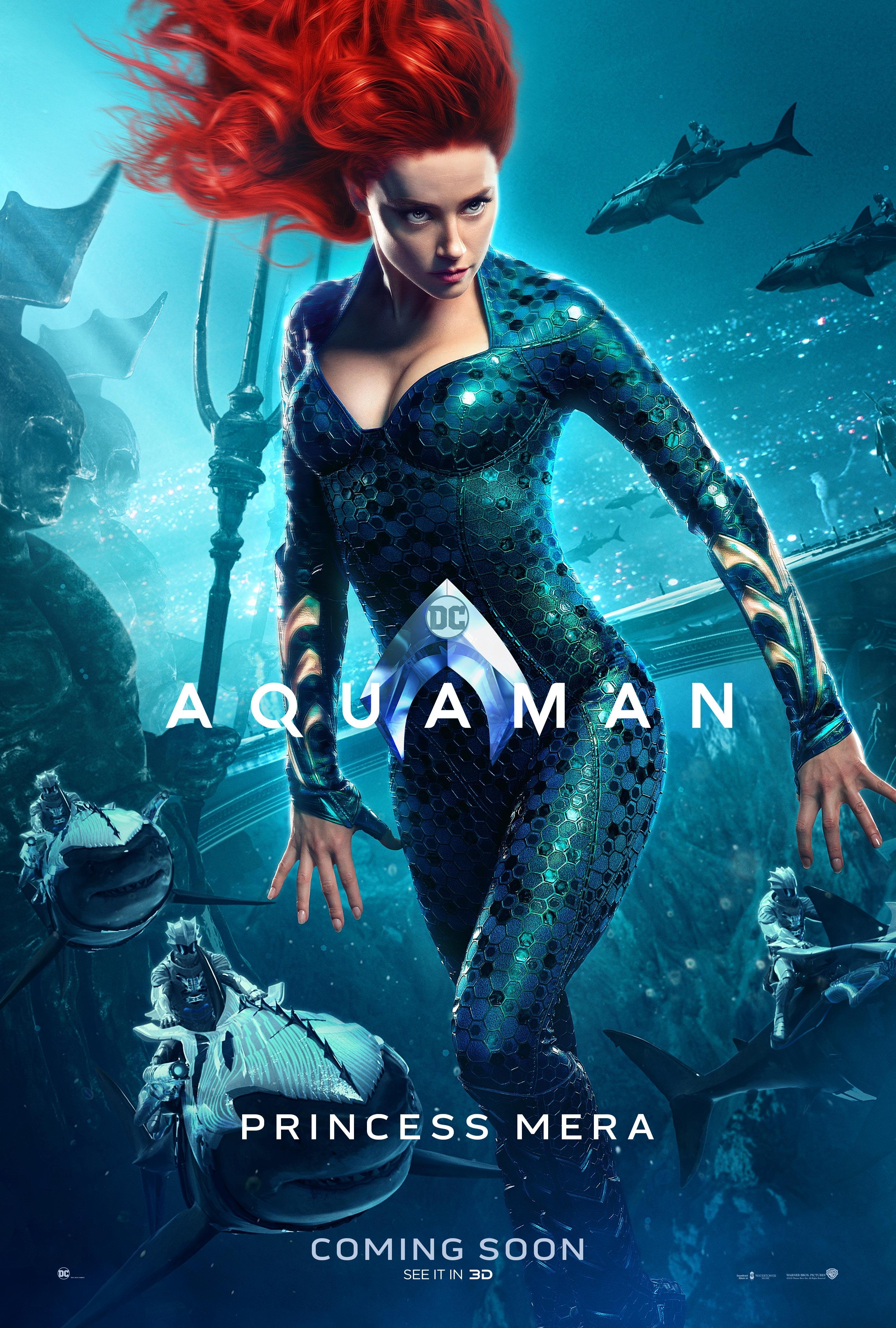 MERA. Amber Heard is Princess Mera, Aquaman's love.