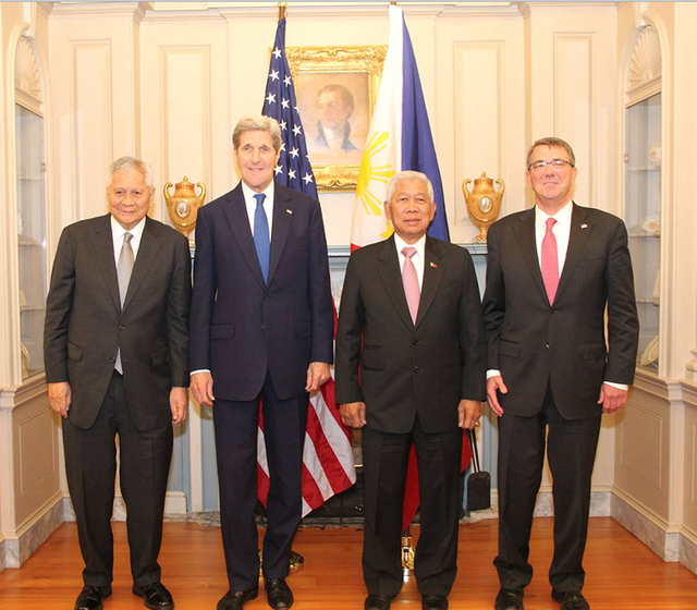 PH-US 2+2. (L-R) Philippine Foreign Secretary Albert del Rosario, US Secretary of State John Kerry, Philippine Secretary of Defense Voltaire  Gazmin and US Secretary of Defense Ashton Carter pose for a photo opportunity before the second Philippines-US Two-plus-Two Ministerial Dialogue on January 12, 2016, at the US Department of State in Washington DC. Photo courtesy of the Philippine embassy in Washington DC