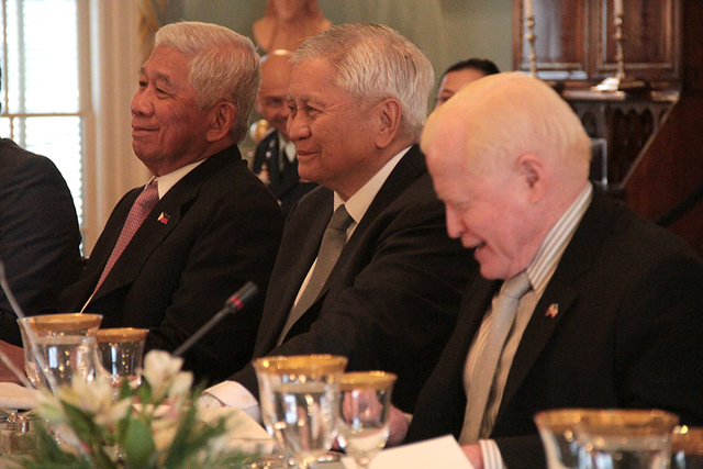 STRONGER ALLIANCE.  (L-R) Defense Secretary Voltaire Gazmin, Foreign Affairs Secretary Albert del Rosario, and Philippine Ambassador to the US Jose L. Cuisia, Jr listen to their US counterparts' remarks at the working lunch of the 2nd Philippines-US Two-plus-Two Ministerial Dialogue, on January 12, 2016, at the US Department of State in Washington DC. Photo courtesy of the Philippine embassy in Washington DC