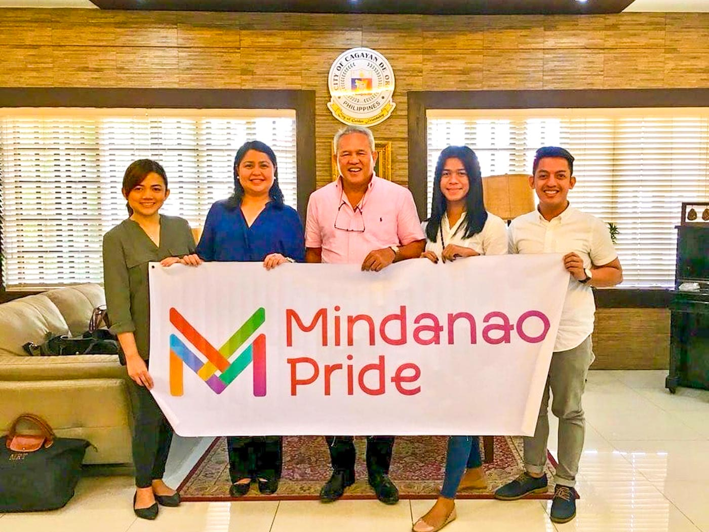 LOBBYING FOR RIGHTS - SPARK, Inc. representatives (left) accompany Mindanao Pride members (right) during a courtesy call with Cagayan de Oro City Mayor Oscar Moreno (center) this May. One of Mindanao Pride's objectives is to discuss with local government units about anti-discrimination ordinances and to implement them within their localities.