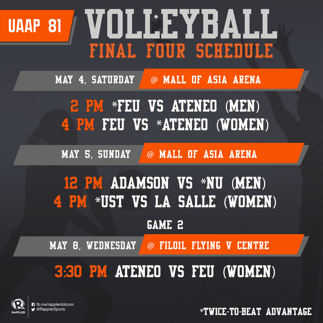 GAME SCHEDULE: UAAP Season 81 Volleyball Final Four
