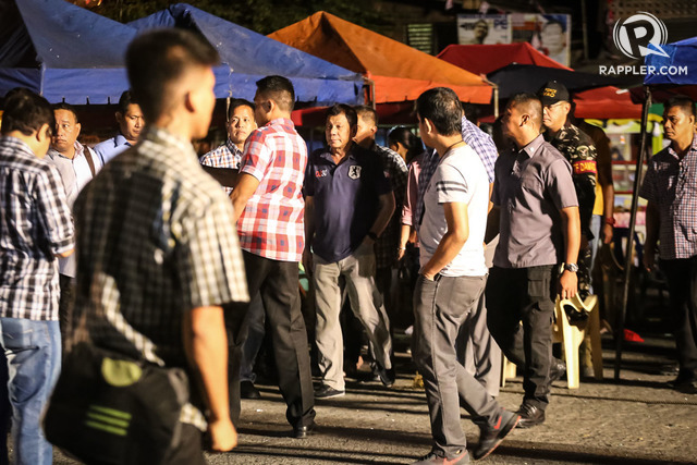 ON HIS FEET. President Duterte arriving at the blast site before 5 am, September 3.