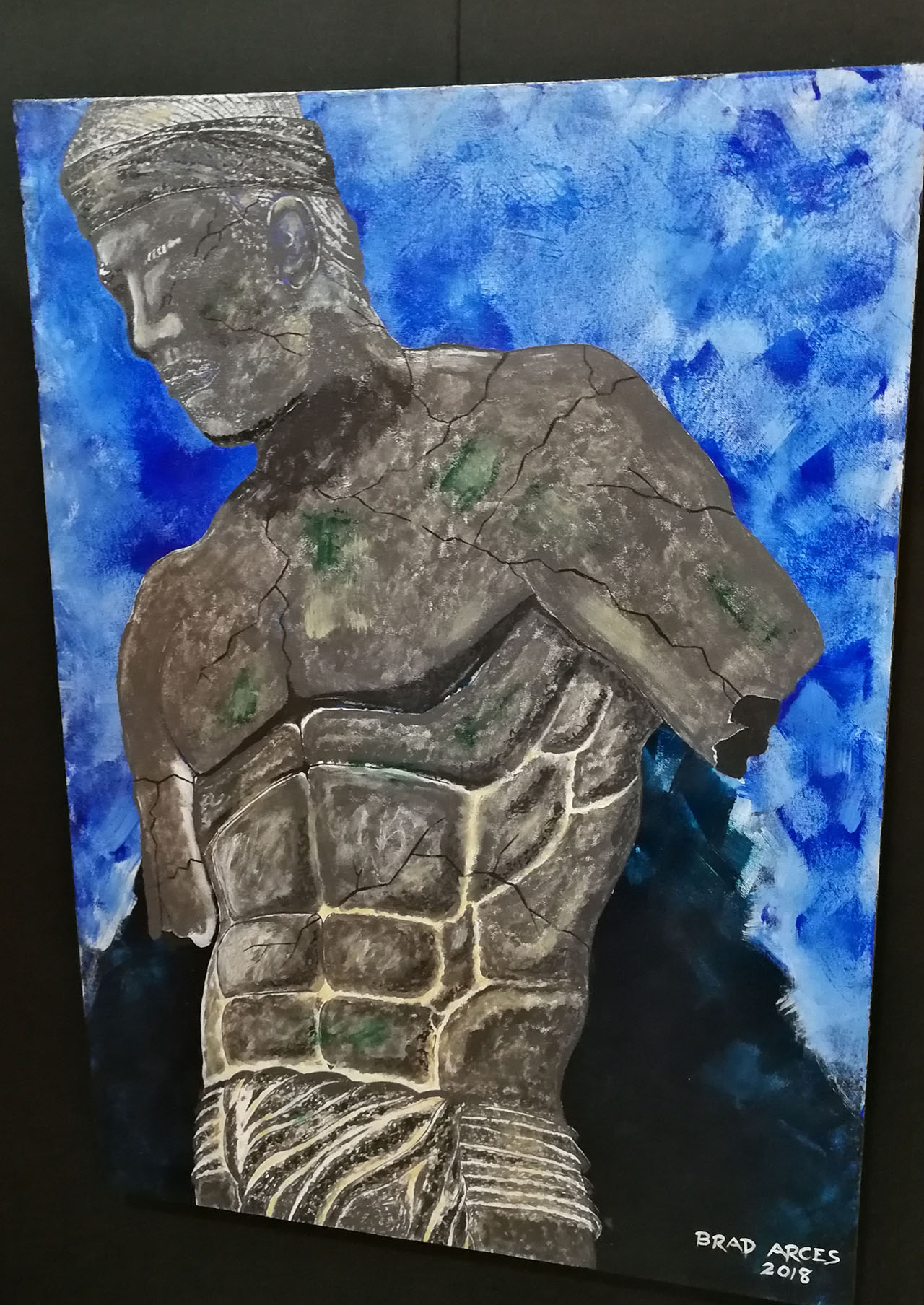 UNNAMED HEROES. Brad Boiser Arces honors heroes who have not been recognized in history for their valor and bravery in the battles they fought through his painting. Photo by Angelo Lorenzo