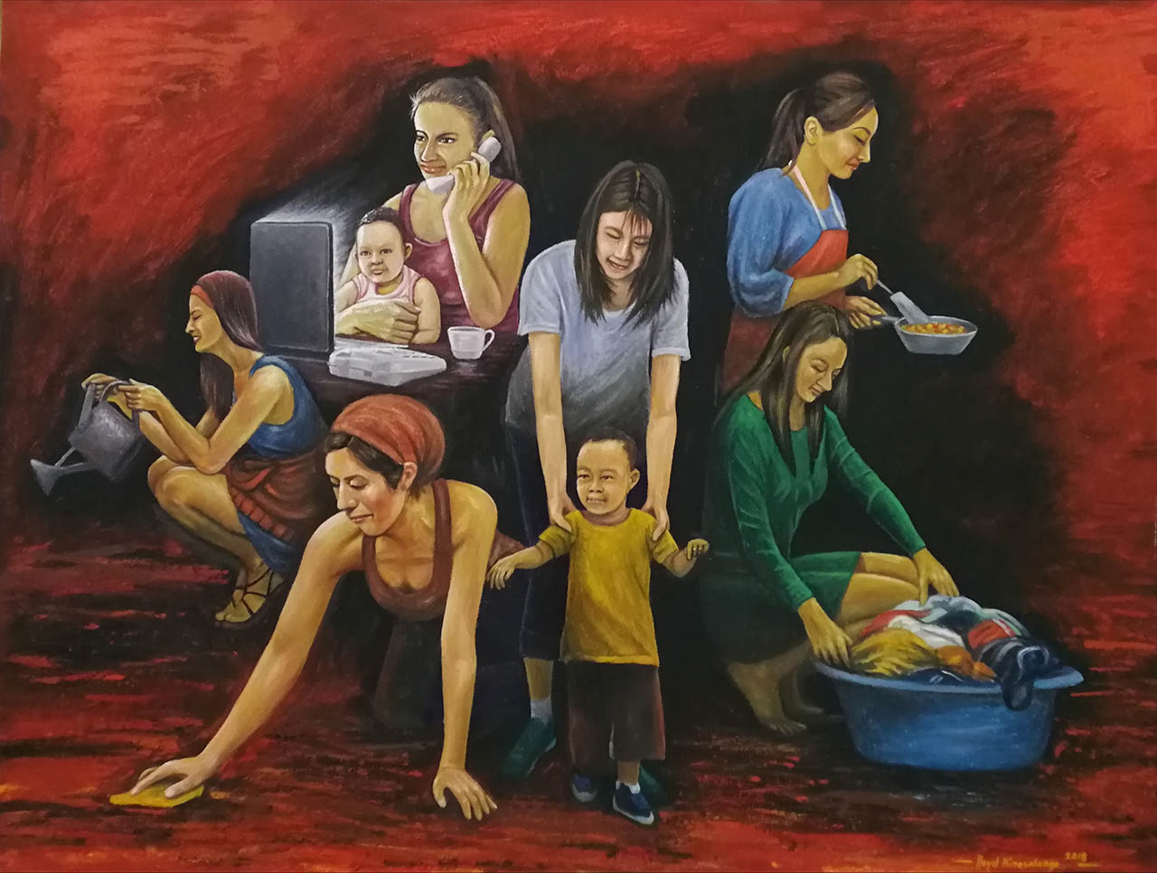 ILAW NG TAHANAN. AKI President Lloyd Hinosolango paints the roles of mothers in families. Photo by Angelo Lorenzo