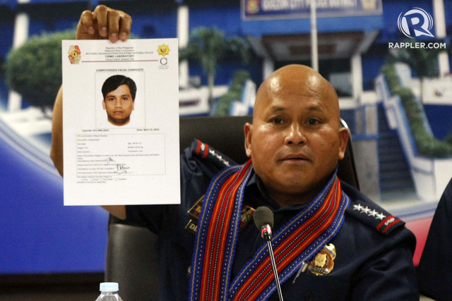 SUSPECT. PNP chief  Ronald dela Rosa shows a computerized sketch of the suspect who left an improvised explosive device near the US embassy on November 28, 2016. Photo by Ben Nabong/Rappler