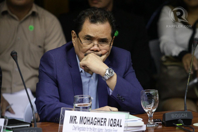 ALMOST DONE. MILF chief peace negotiator Mohagher Iqbal at the Senate. File photo by Mark Cristino/Rappler